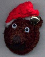 Teddy Bear Head Magnet with Santa's Hat